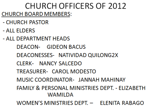 LSDA 2012 Officers-Church Boards Members