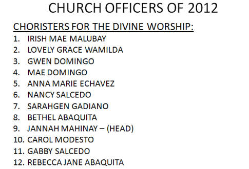 LSDA 2012 Officers-Choristers for Worship Hour