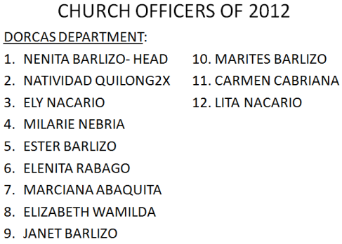 LSDA 2012 Officers-Dorcas Department