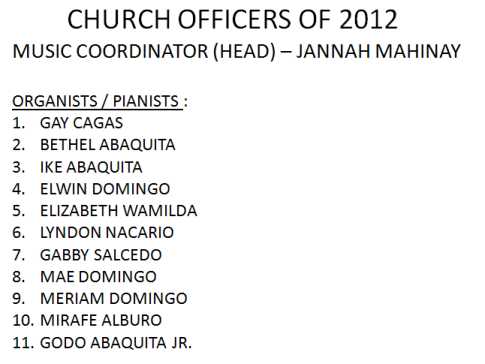 LSDA 2012 Officers-Music Coordinators