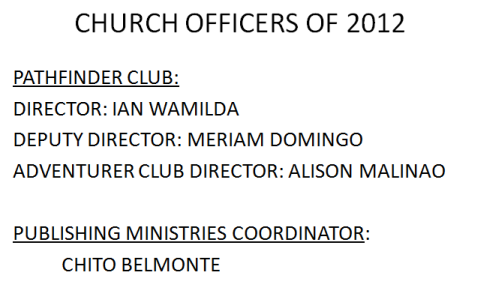LSDA 2012 Officers-PatfinderClub and Publishihing Ministries