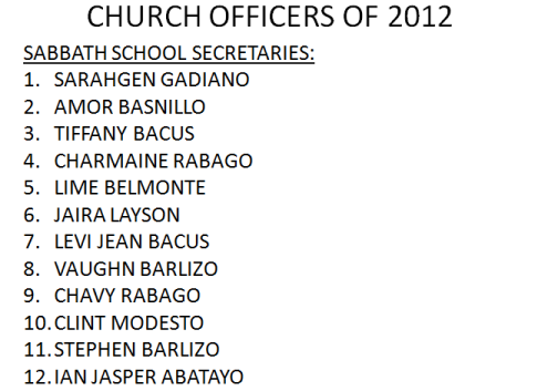LSDA 2012 Officers-Sabbath School Secretaries