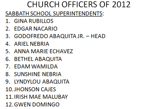 LSDA 2012 Officers-Sabbath School Superintendents