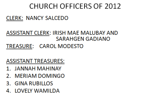 LSDA 2012 Officers-Church Treasurers and Clerk