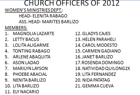 LSDA 2012 Officers-Women's Ministry
